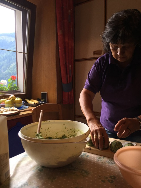 Kathi making Spinach Dumplings