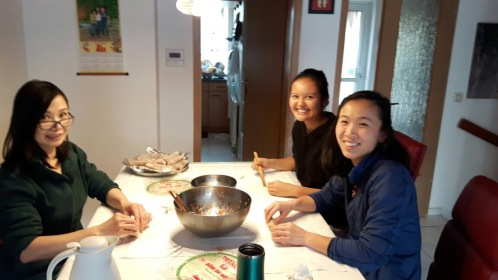 Diem mi, her mom and I cooking