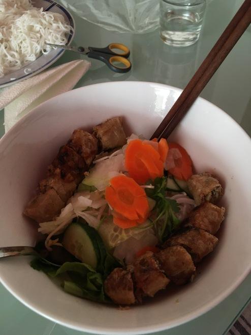 Spring roll noodle salad